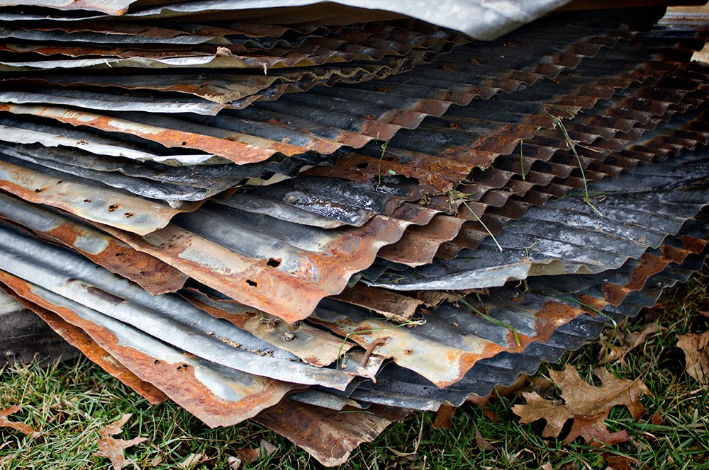 Steel Siding Recycled Materials : Old recycled sheet metal roofing