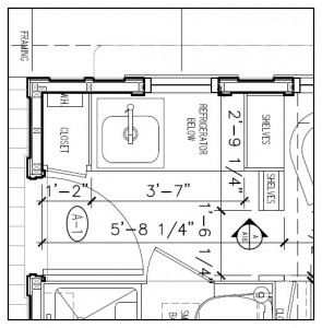 Close up of Detailed Floor Plan for the Marie Colvin Tiny House by Four Lights