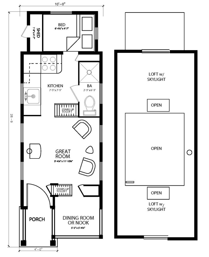 The marie colvin tiny house floor plan by four lights for Four lights tiny house plans