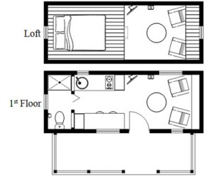 Humble homes humblebee tiny house with porch floor plan Micro home plans free